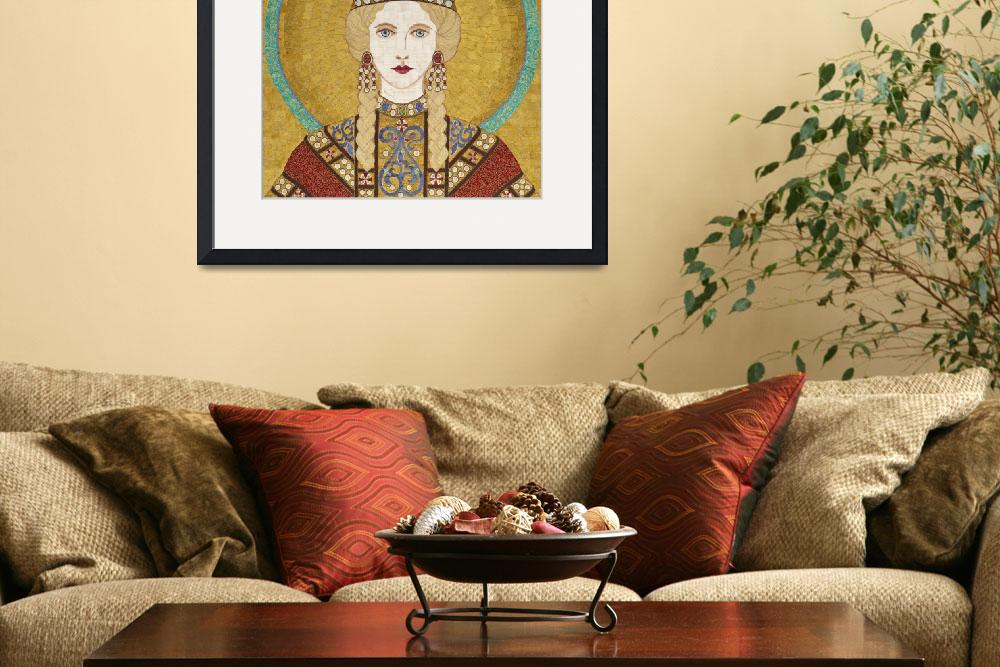 """Empress Irene of Byzantiumm- fabric mosaic&quot  (2013) by RemnantWorks"