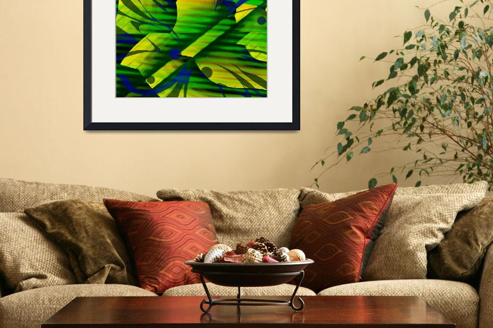"""Mellow Green Yellow Abstract&quot  (2011) by WallArtDeco"