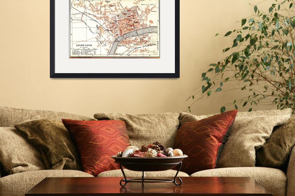 """Vintage Map of Solothurn Switzerland (1913)&quot  by Alleycatshirts"