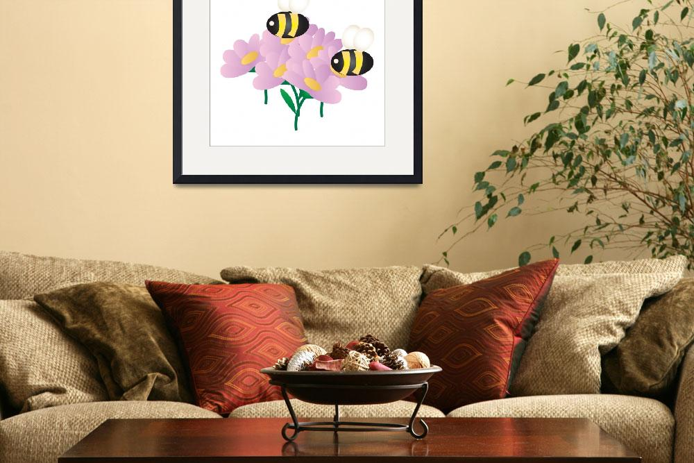 """2 Bees on Flowers&quot  by Eileen"