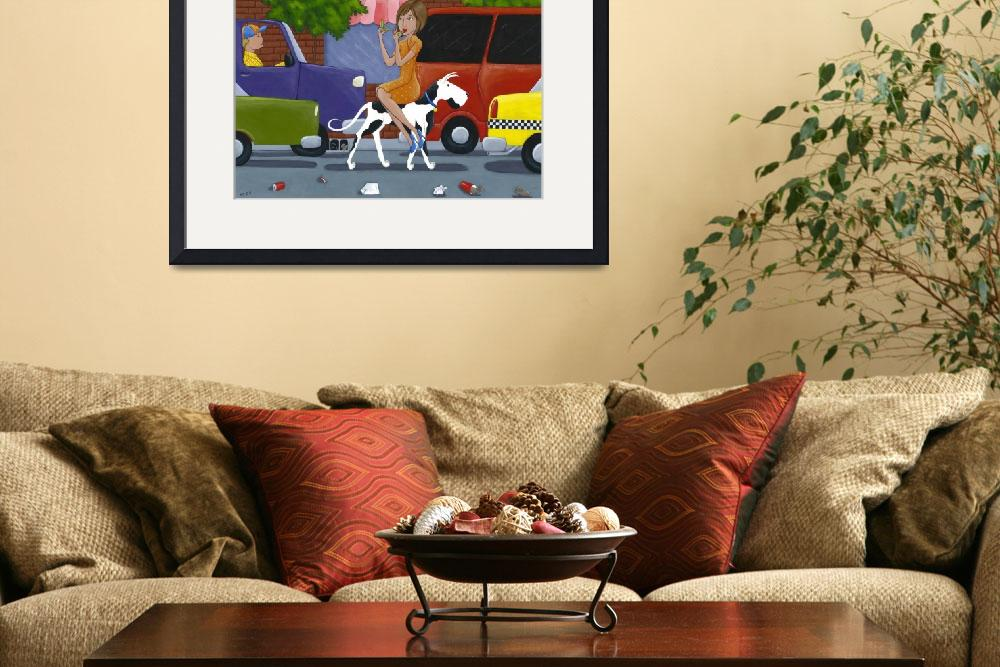 """""Commuting"" Funny Dog Art&quot  (2010) by ChristyBeckwith"