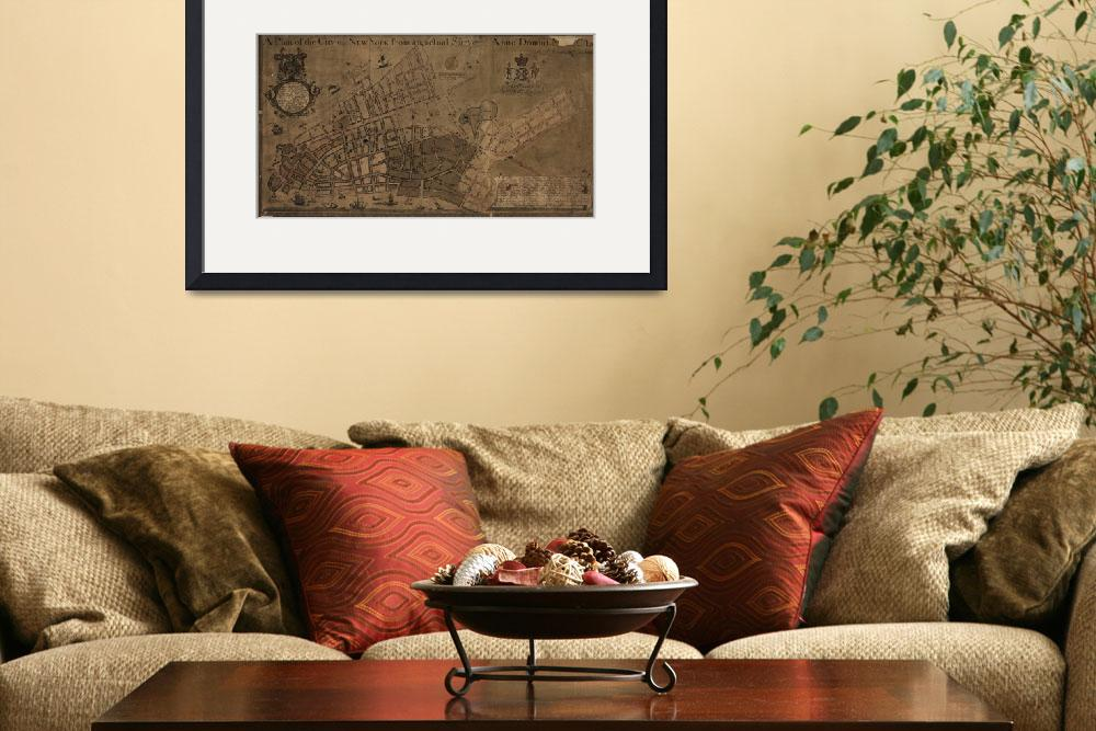 """Vintage Map of New York City (1755)&quot  by Alleycatshirts"