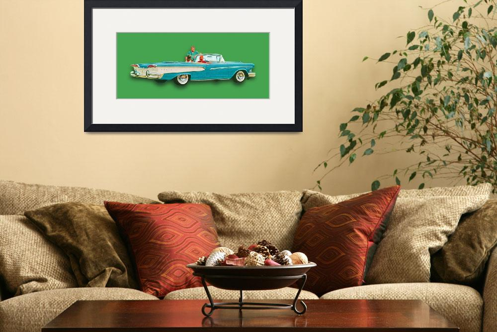 """Edsel Car Advertisement Convertible Green&quot  (2015) by RubinoFineArt"