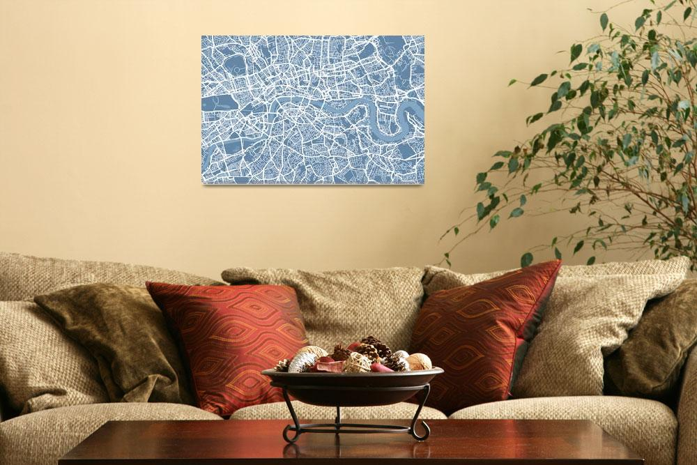 """London Map Art Steel Blue&quot  (2011) by ModernArtPrints"