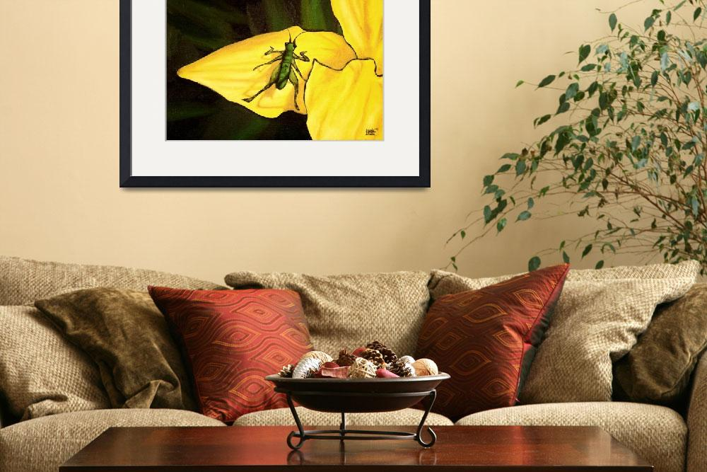 """Grasshopper On Yellow Lily&quot  (2004) by harryboardman"