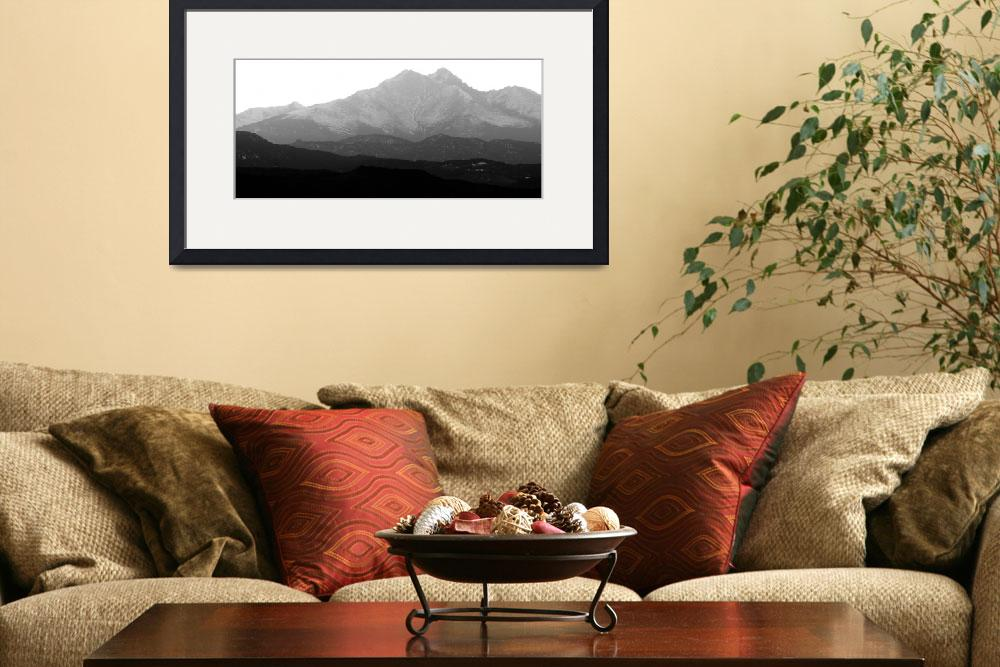 """The Twin Peaks Rocky Mountains Foothills BW&quot  (2010) by lightningman"