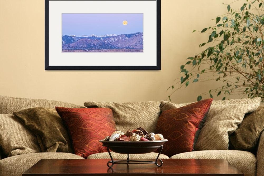 """Full Moon Setting Over The CO Rocky Mountains&quot  (2012) by lightningman"