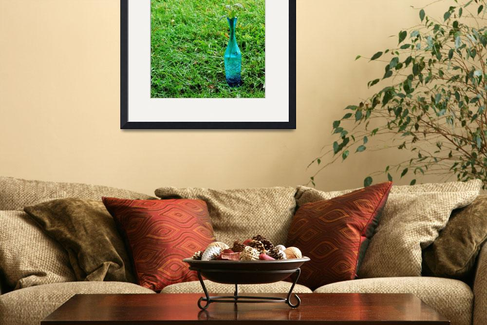 """Coneflower in blue vase on a green grass backgroun&quot  (2009) by PurrpleX"