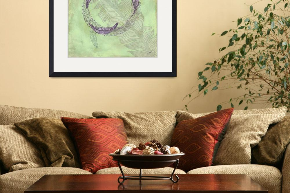 """Zen Feather Circle IV&quot  by WrightFineArt"