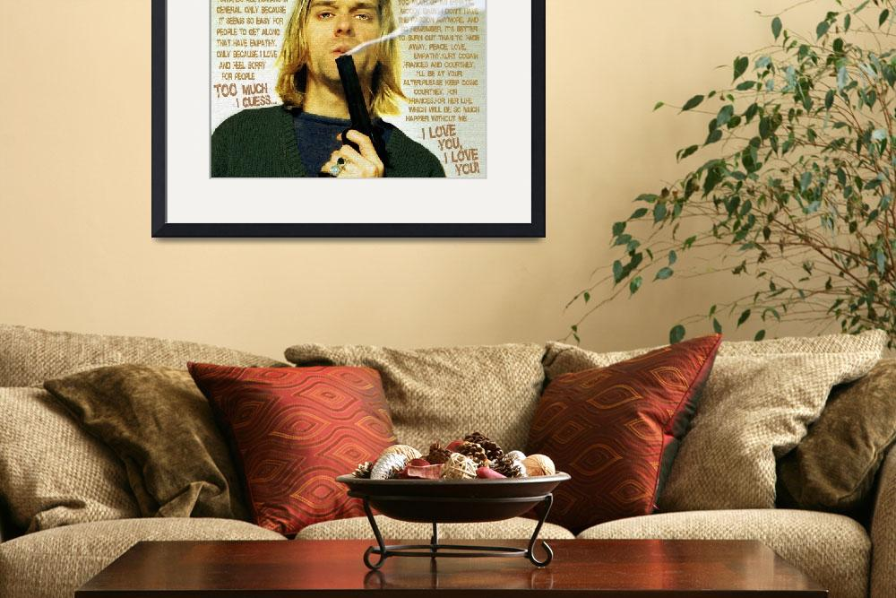 """Kurt Cobain Nirvana With Gun And Suicide Note Pain&quot  by RubinoFineArt"