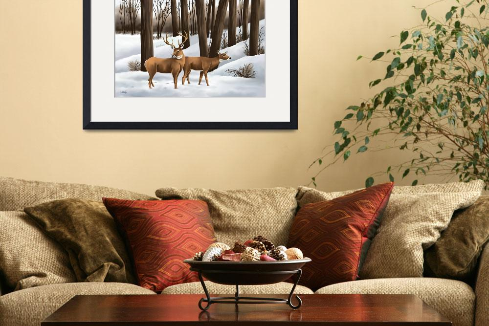 """Whitetail Deer In Snow&quot  (2010) by waterart"