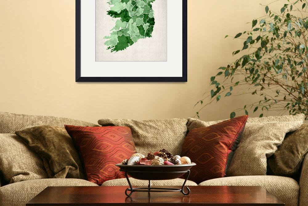 """Ireland Watercolor Map&quot  (2012) by ModernArtPrints"