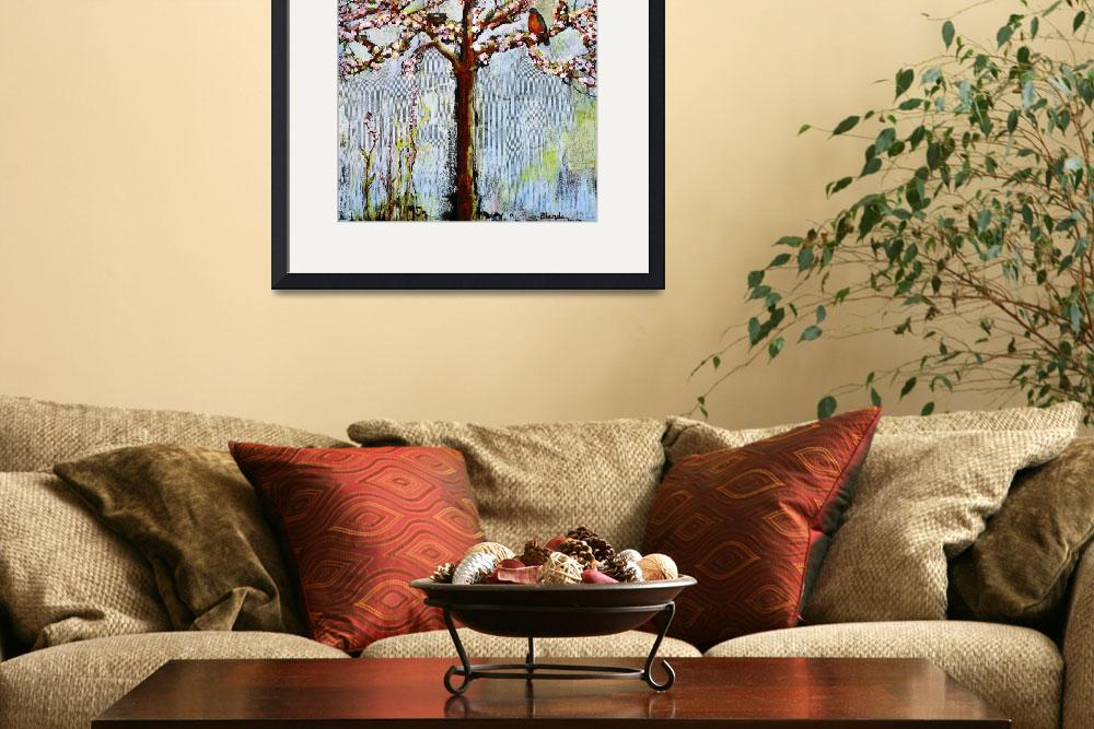 """Tree With Blossoms and Robins Art&quot  (2011) by BlendaStudio"