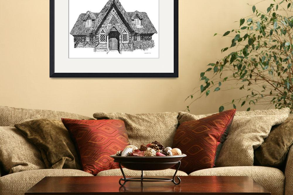 """Stipple Pen and Ink Irish Cottage&quot  (1996) by DulceDiane"