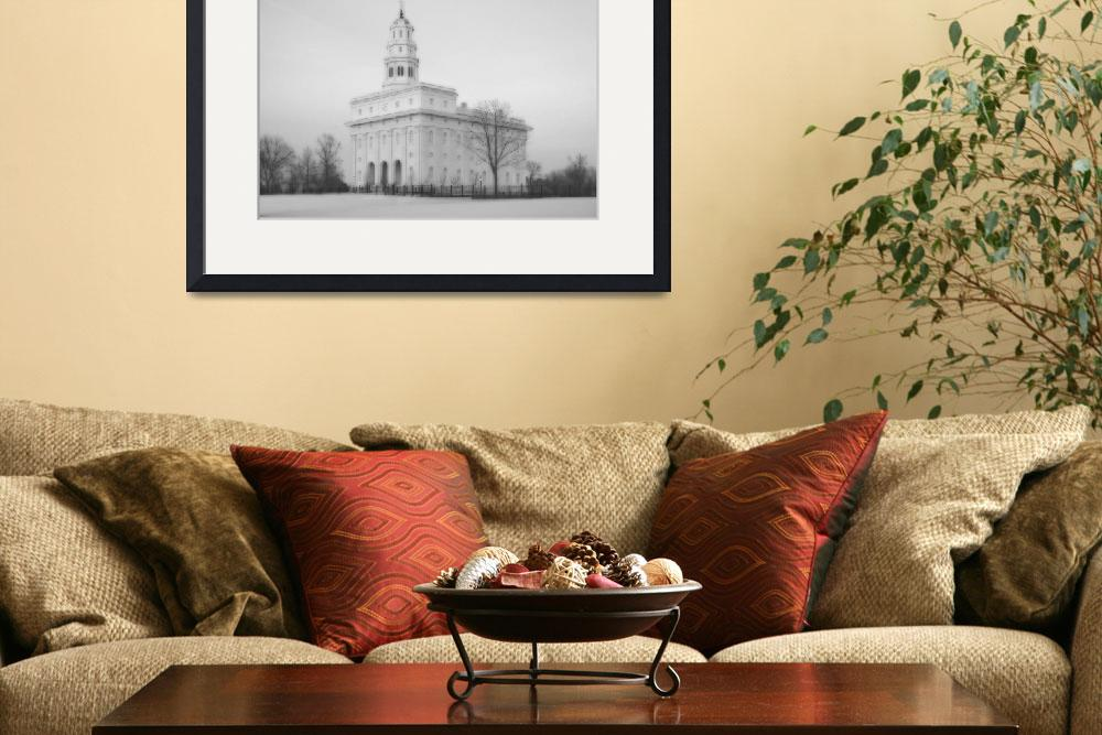 """Nauvoo Temple Large-16x22-BW&quot  by TerrySpringer"