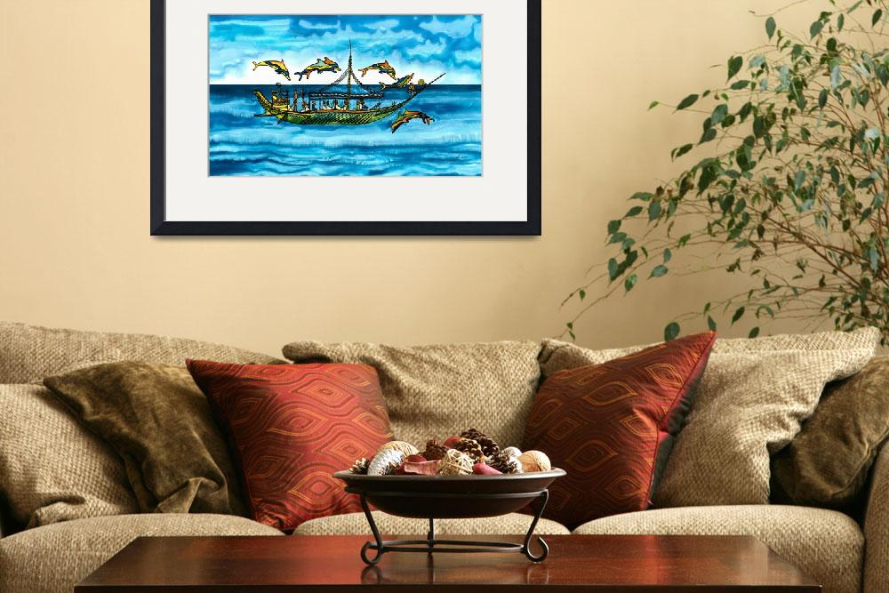 """Greek Merchantship and Dolphins&quot  by savanna"