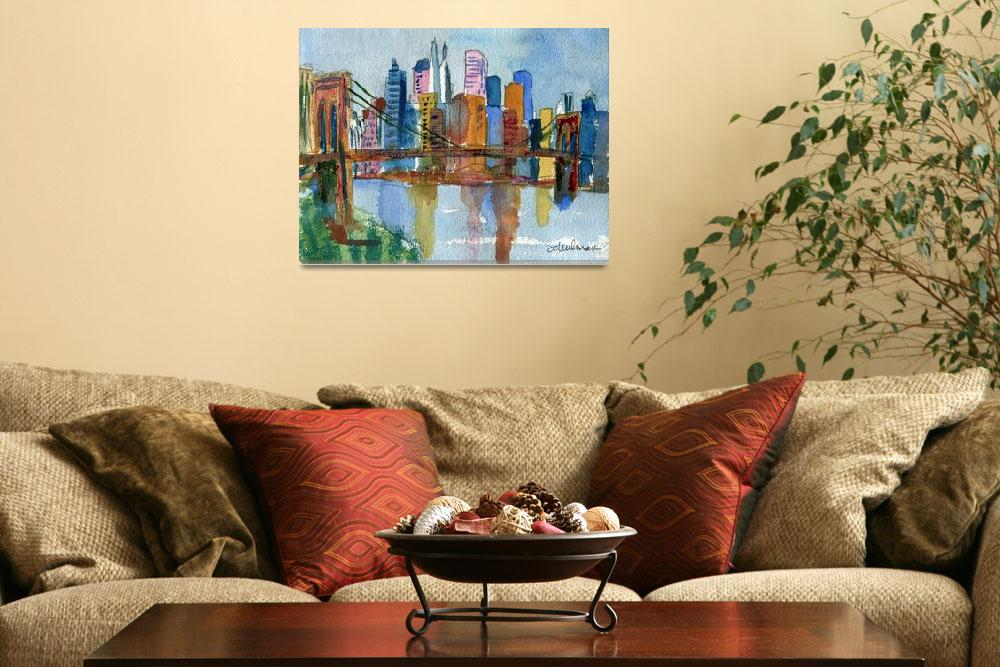 """Brooklyn Bridge, Impressionistic New York City Sky&quot  (2012) by schulmanart"