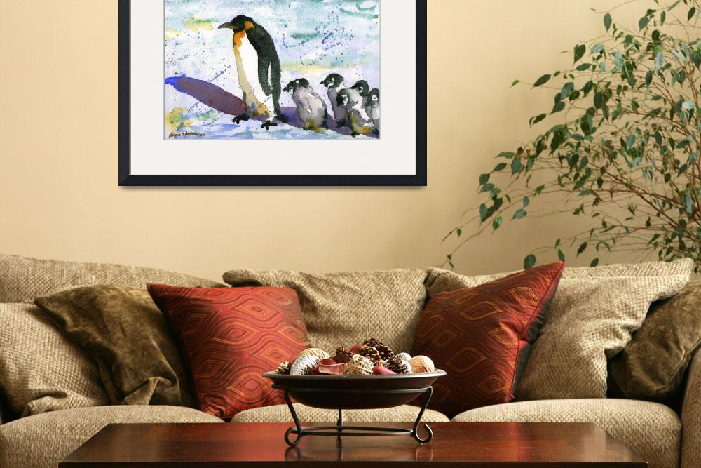 """Penguin Art, Watercolor Painting Art&quot  (2012) by schulmanart"