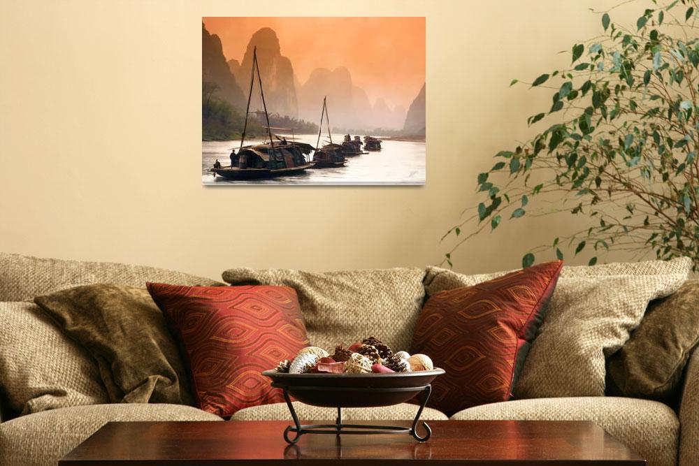 """Junks Sailing the Li River&quot  (2003) by rdwittle"