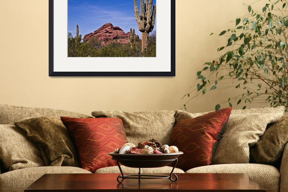 """The Saguaro Cacti and Red Rocks&quot  (2014) by Kirtdtisdale"