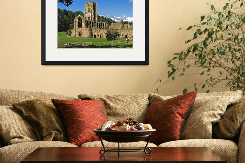 """Fountains Abbey in Summer 10&quot  (1990) by PriscillaTurner"
