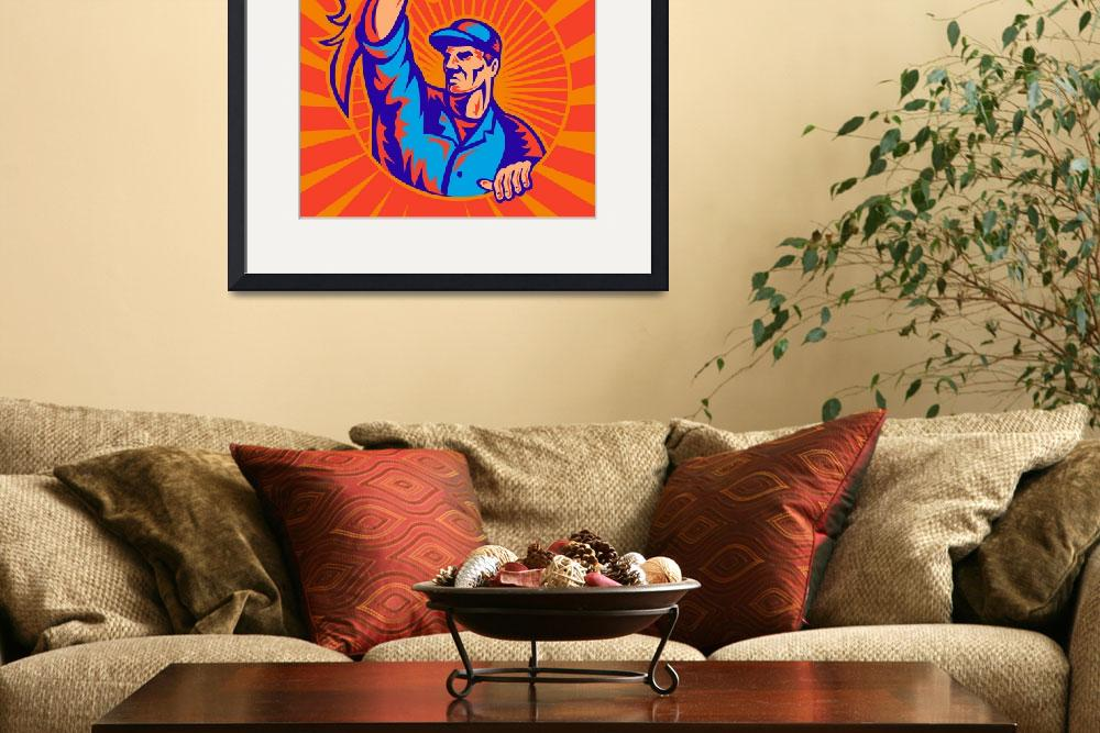"""worker carrying flaming torch sunburst retro&quot  (2013) by patrimonio"