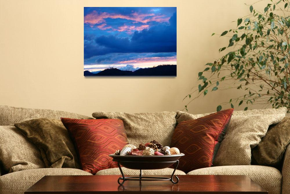 """OFFICE Art Blue Twilight Pink Clouds Sunset Sky&quot  (2009) by BasleeTroutman"
