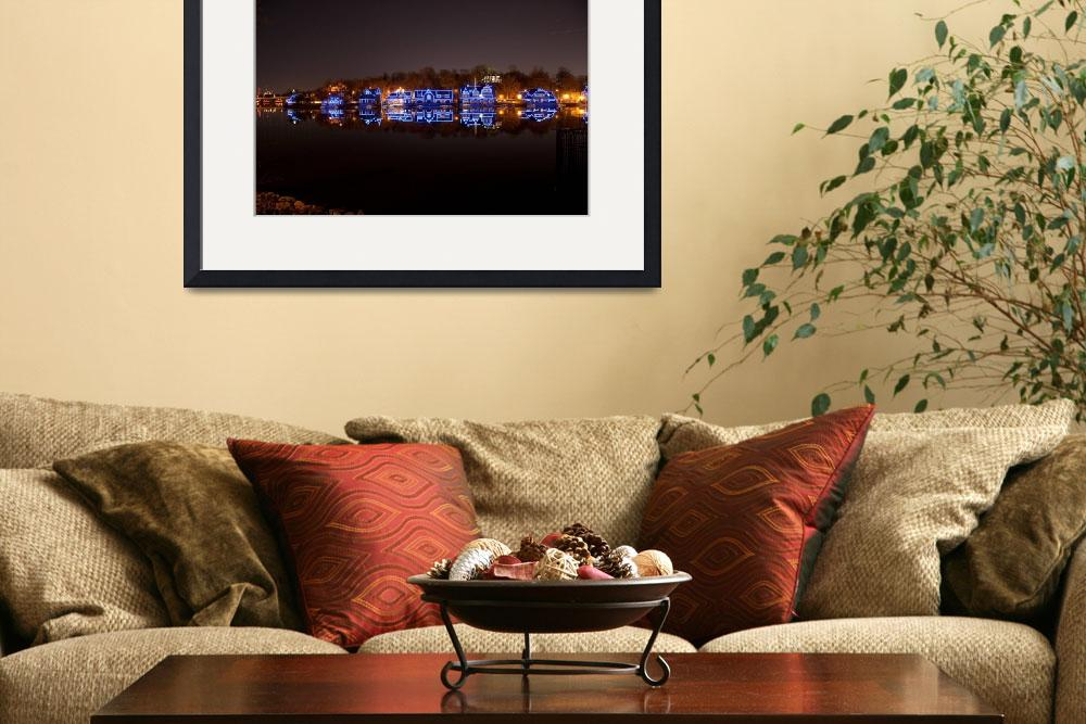"""2011 Philadelphia Night Skyline Boathouse Row&quot  (2011) by Philadelphia_photographer"