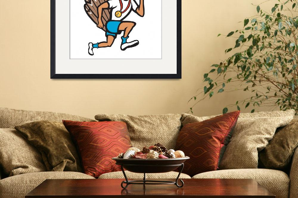 """Turkey Run Runner Thumb Up Cartoon&quot  (2013) by patrimonio"