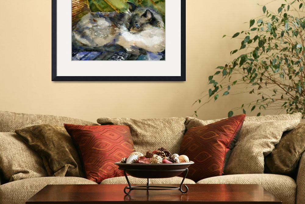 """Siamese Basking, Watercolor Painting Animal Cat Ar&quot  (2008) by schulmanart"