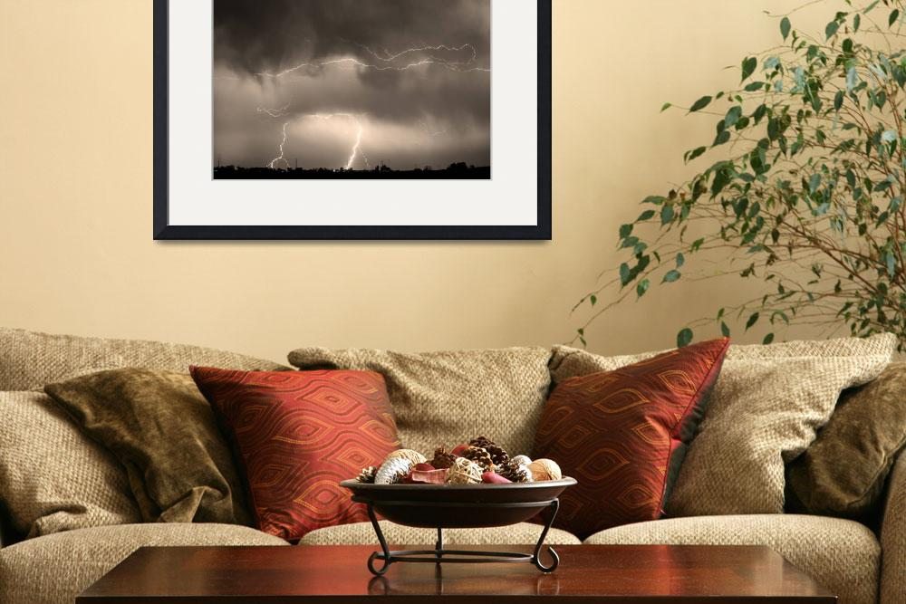 """May Showers Lightning Storm Sepia&quot  (2011) by lightningman"