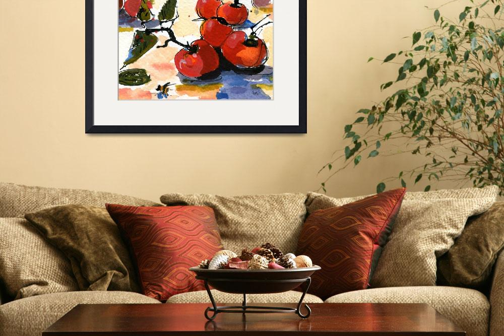 """Modern Cherries Square Watercolor by Ginette&quot  (2011) by GinetteCallaway"