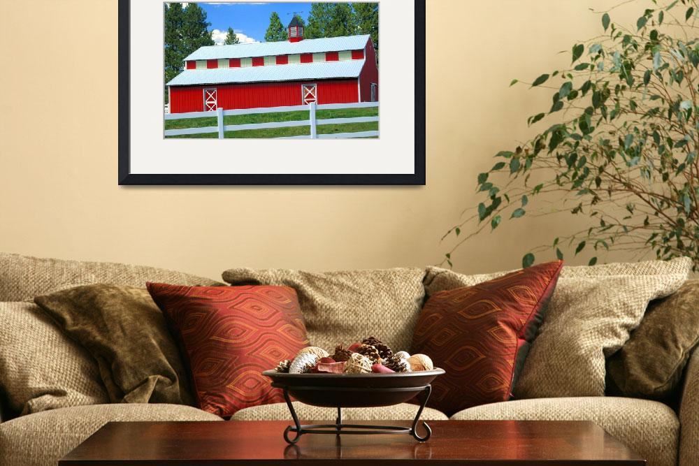 """Red Barn, White Fence, Blue Sky&quot  by budo"