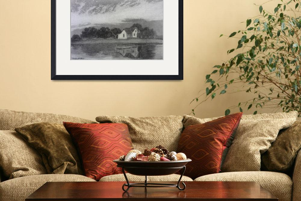 """Cottage on Currituck Sound charcoal&quot  (2015) by ReginaBurchett"