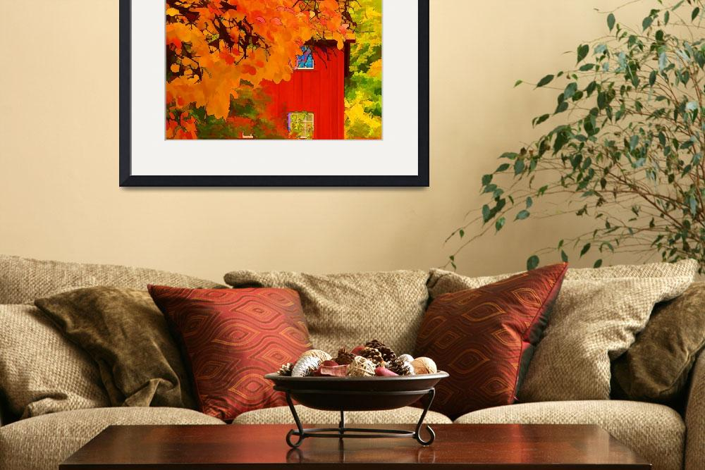 """Impression: Red Barn in Autumn&quot  (2009) by noelzialee"
