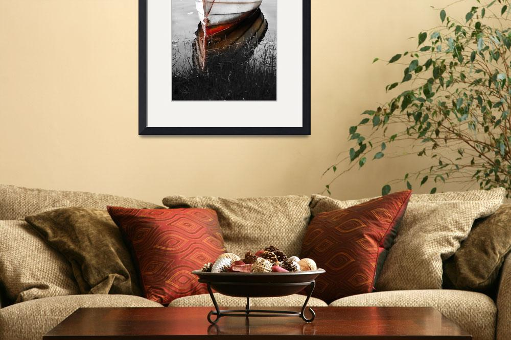 """Black and White Red Boat&quot  (2008) by Black_White_Photos"