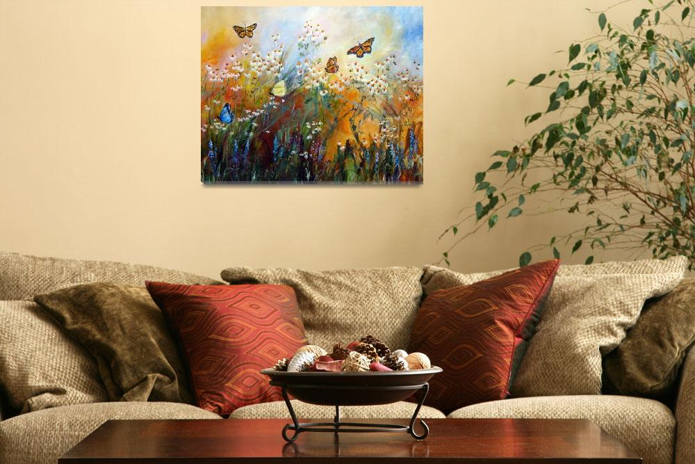 """Chamomile Garden Butterflies Painting&quot  (2012) by GinetteCallaway"