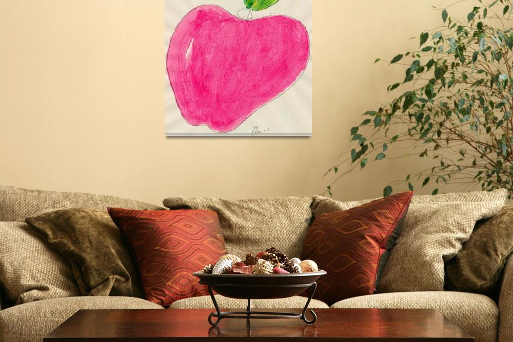 """RED APPLE SINGLE LINE DRAWING ONE&quot  (2007) by JerryHanks"