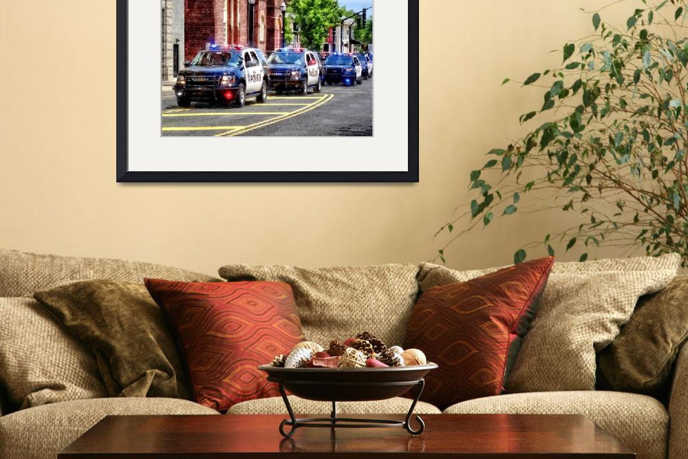 """Line of Police Cars&quot  by susansartgallery"