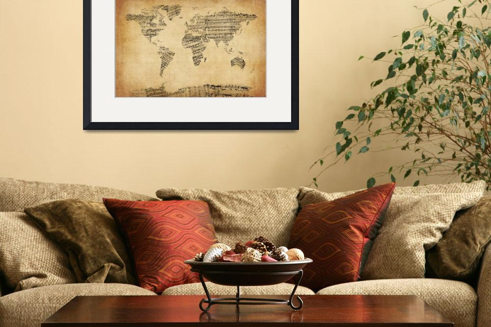 """Map of the World Map from Old Sheet Music&quot  (2012) by ModernArtPrints"