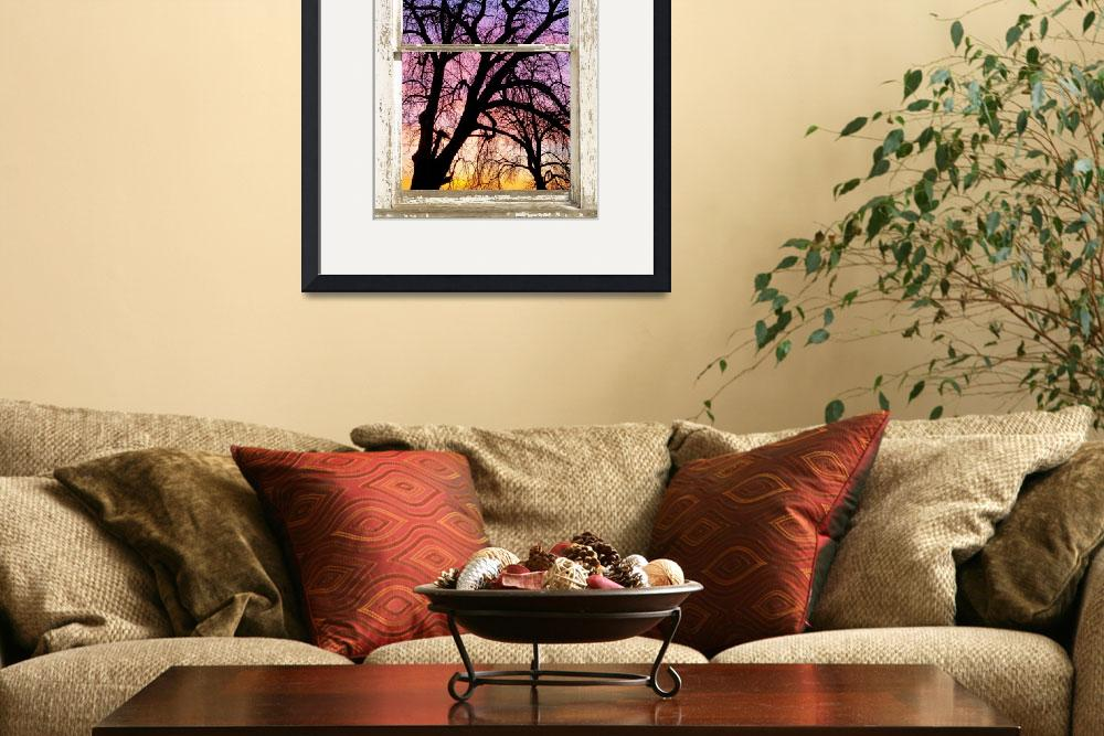 """Colorful Tree White Farm House Window View&quot  (2014) by lightningman"