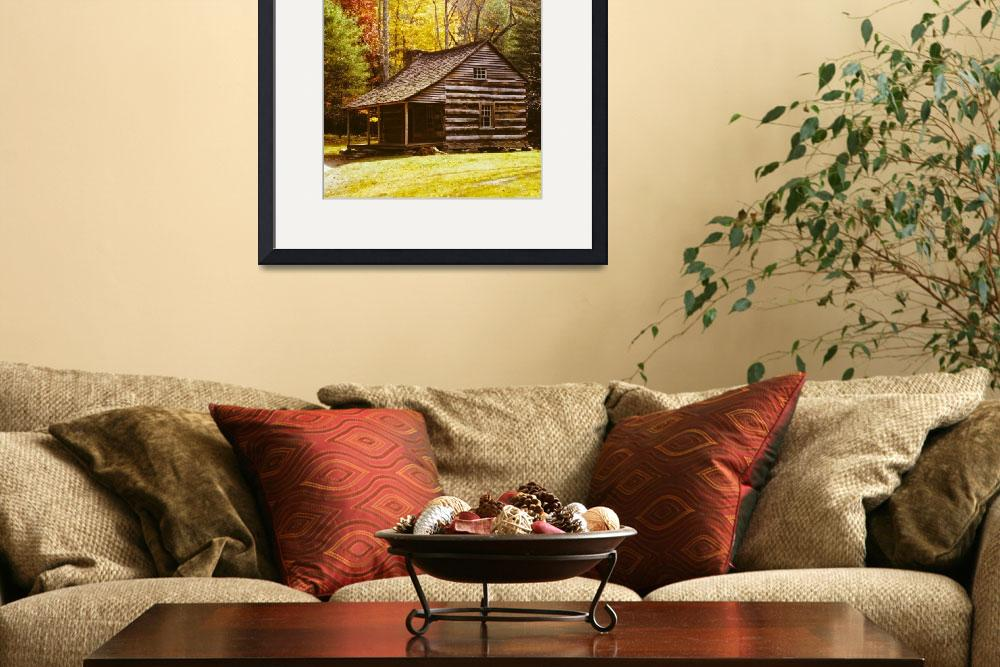 """Log Cabin in Fall Trees&quot  (2000) by darknesstolight"