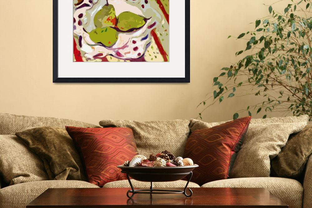 """Abstract Three Green Pears Art by Ginette&quot  (2012) by GinetteCallaway"