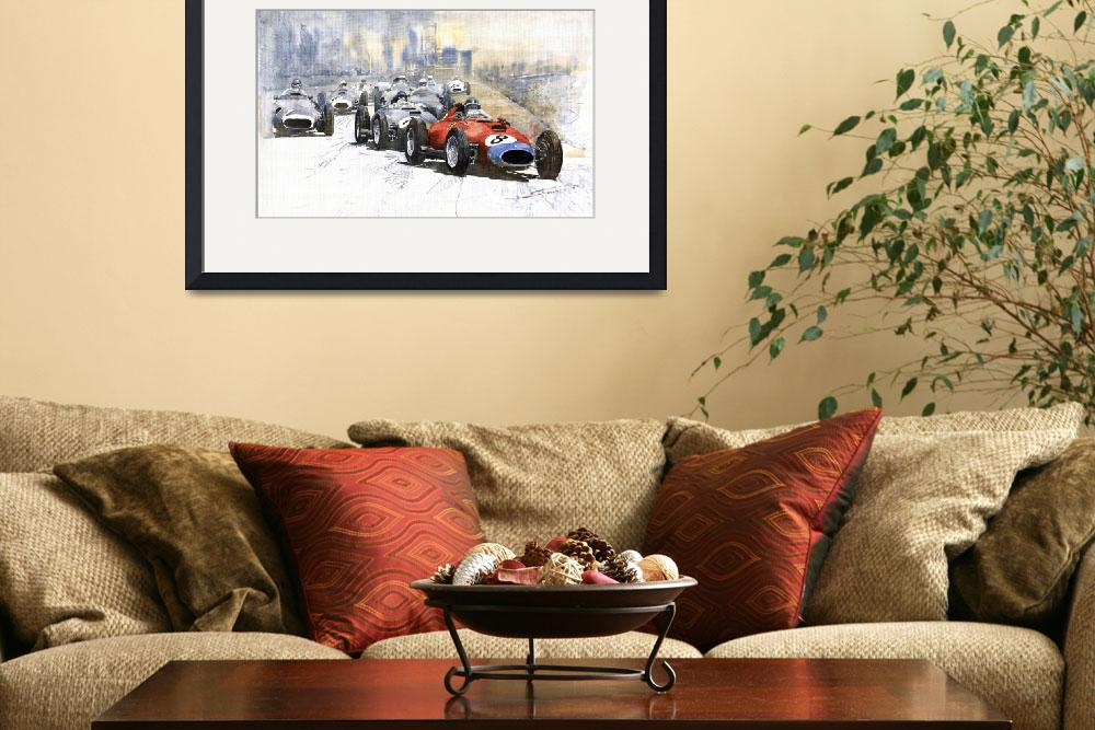 """Red Car Ferrari 801 German GP 1957&quot  (2009) by shevchukart"