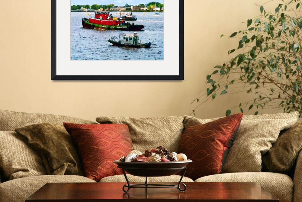 """Norfolk VA - Police Boat and Two Tugboats&quot  by susansartgallery"