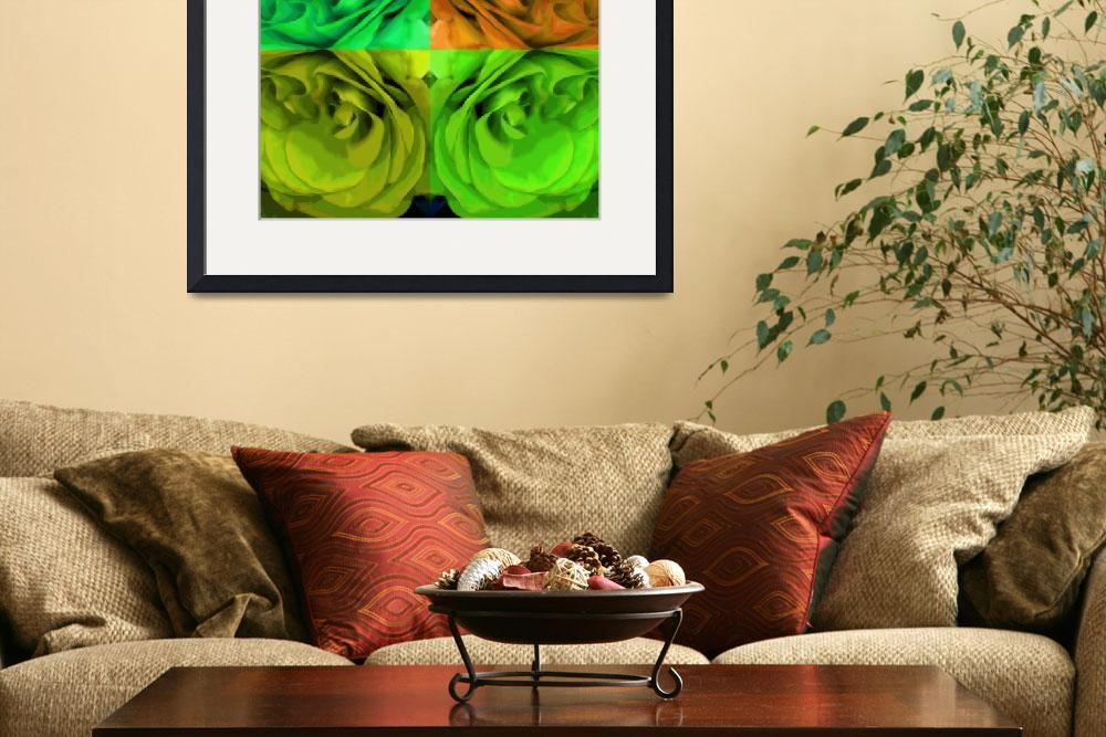 """Majid 4x4 Roses orange greens center rotated&quot  (2009) by LeslieTillmann"
