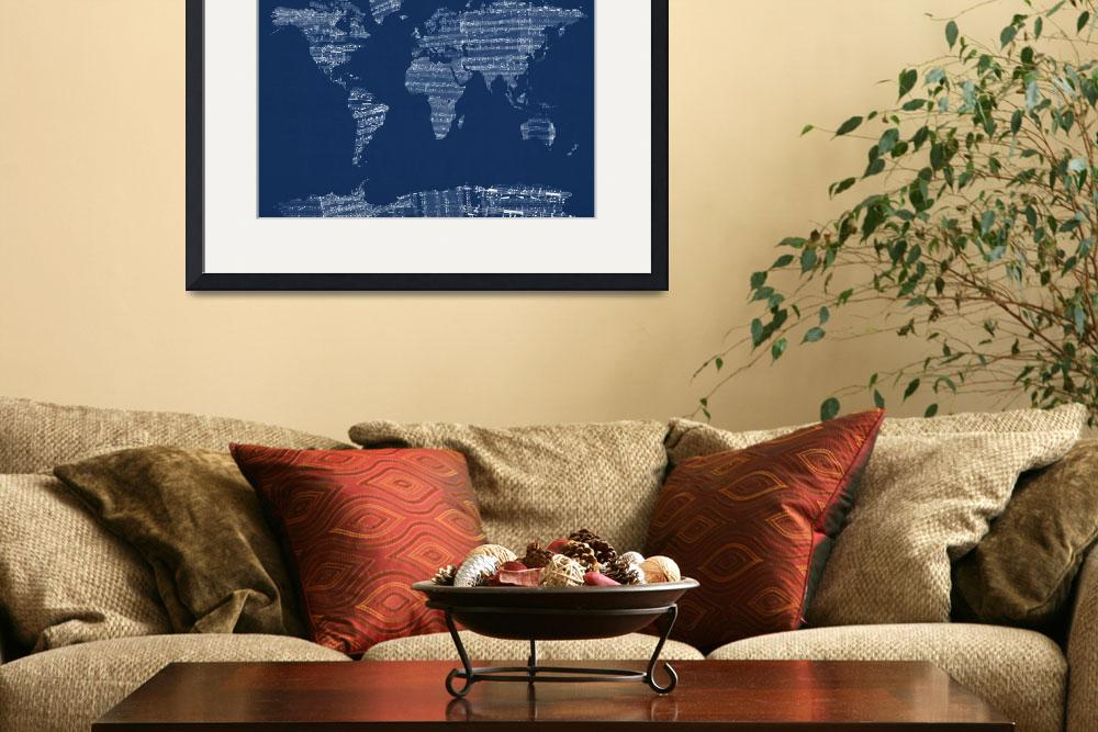 """Old Sheet Music World Map&quot  (2012) by ModernArtPrints"