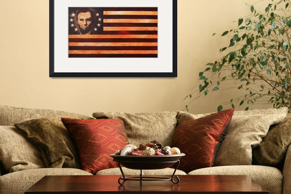 """Abraham Lincoln Antique American Flag&quot  (2009) by AV"