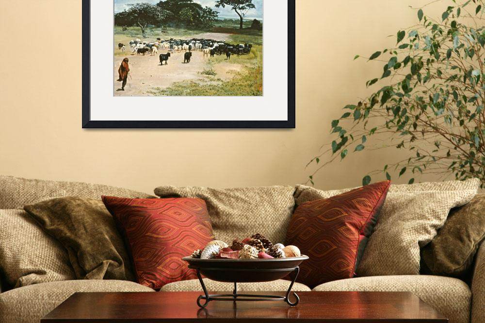 """CATTLE DRIVE KENYA AFRICA&quot  (2007) by AMFINEARTS"