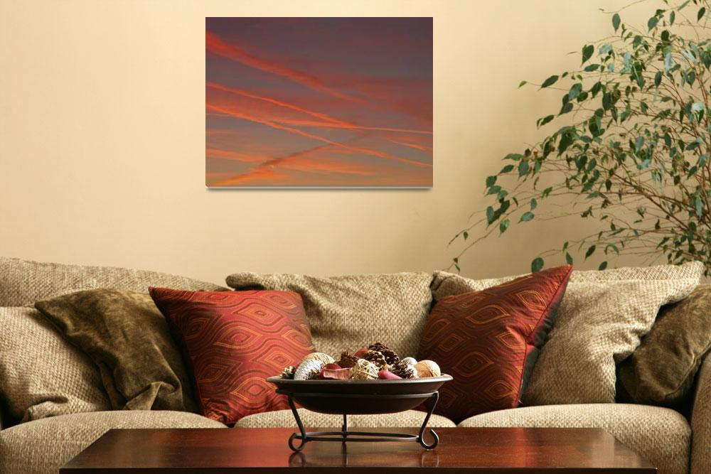 """sunset with contrails&quot  (2010) by veitschuetz"